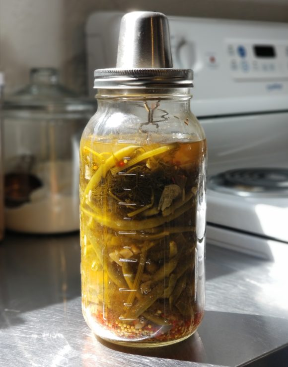 Jar of pickled beans in the kitchen