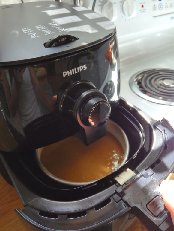 Cake batter in a Philips air fryer