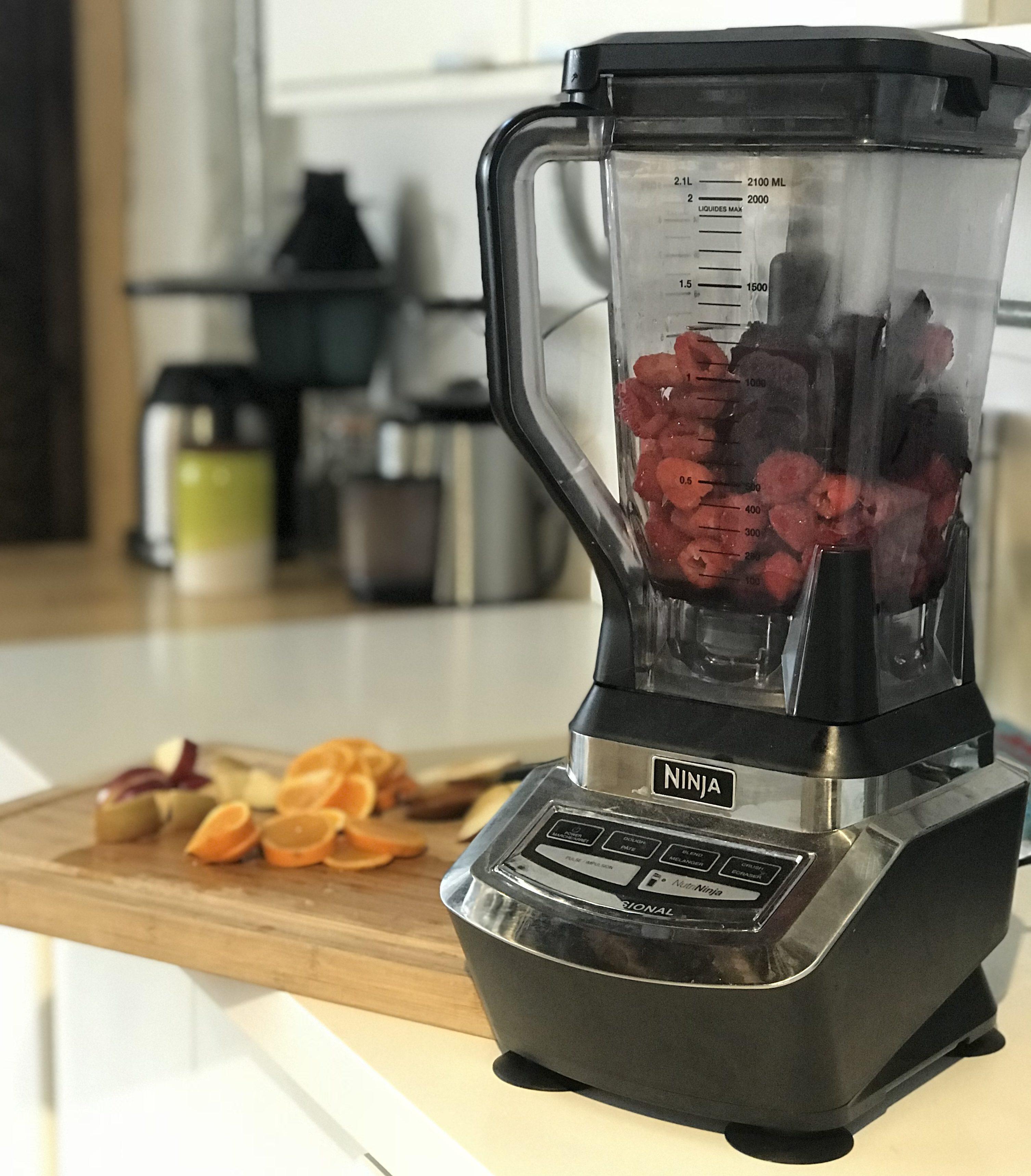 raspberries in a blender