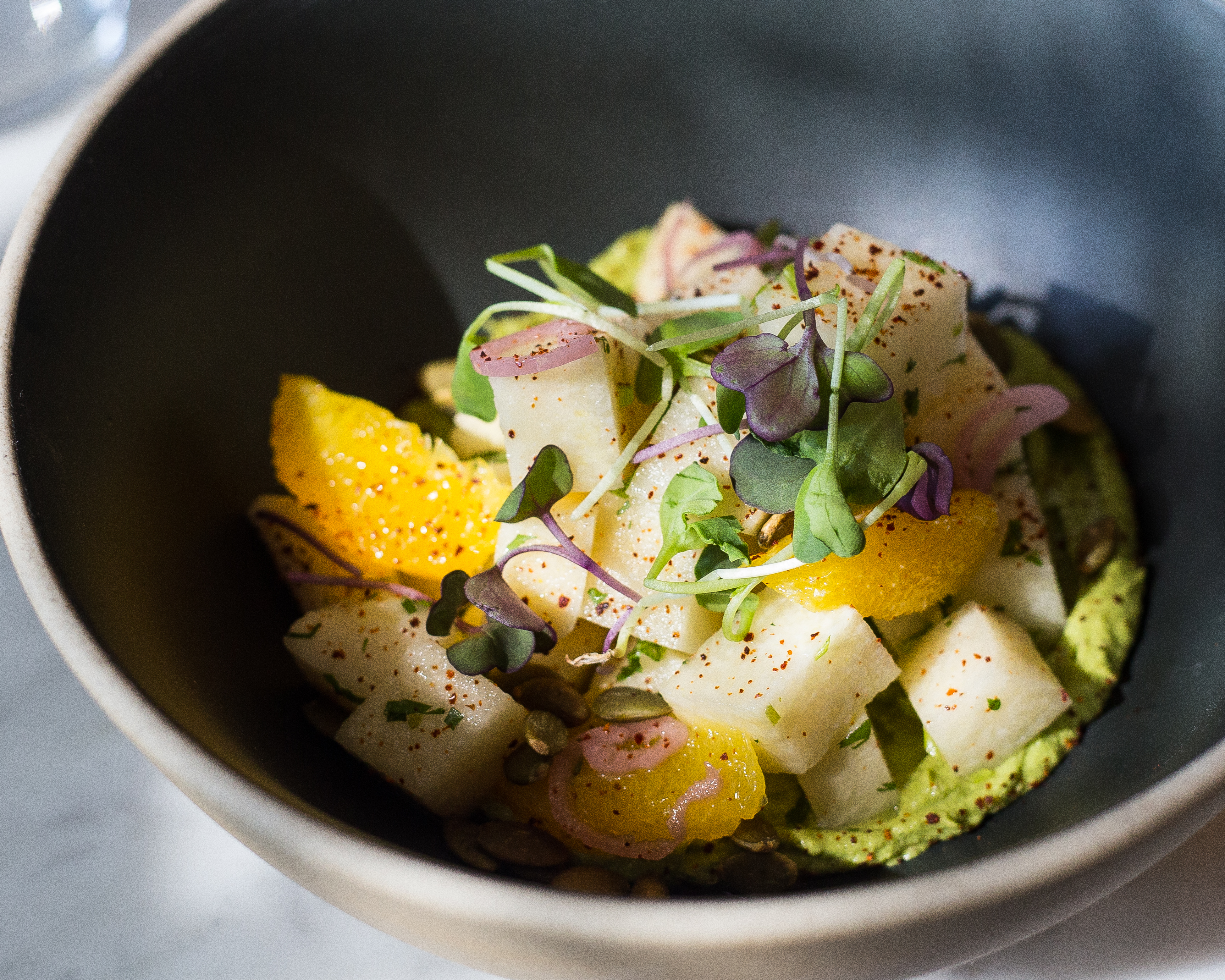 Delicious salad at Rosalinda restaurant Toronto