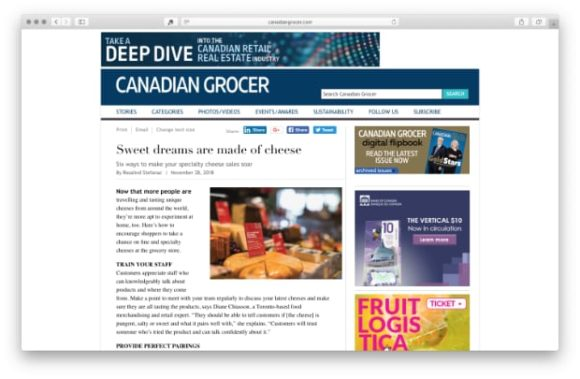 article in Canadian Grocer Magazine featuring Nourish Food Marketing