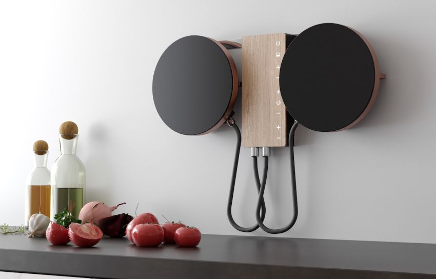 Fabita induction hob hanging on a wall